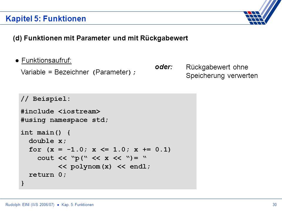 Rudolph: EINI (WS 2006/07) Kap. 5: Funktionen30 Kapitel 5: Funktionen (d) Funktionen mit Parameter und mit Rückgabewert Funktionsaufruf: Variable = Be