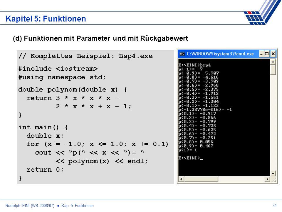 Rudolph: EINI (WS 2006/07) Kap. 5: Funktionen31 Kapitel 5: Funktionen (d) Funktionen mit Parameter und mit Rückgabewert // Komplettes Beispiel: Bsp4.e