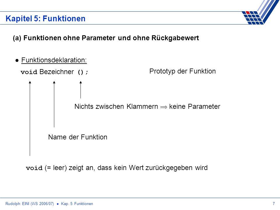 Rudolph: EINI (WS 2006/07) Kap. 5: Funktionen7 Kapitel 5: Funktionen (a) Funktionen ohne Parameter und ohne Rückgabewert Funktionsdeklaration: void Be