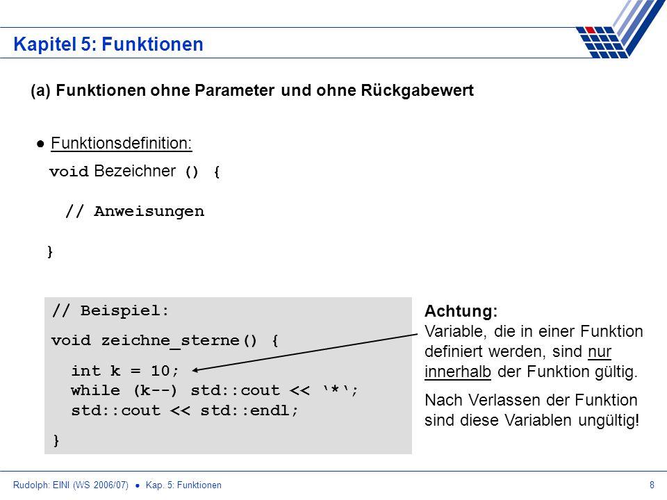 Rudolph: EINI (WS 2006/07) Kap. 5: Funktionen8 Kapitel 5: Funktionen (a) Funktionen ohne Parameter und ohne Rückgabewert Funktionsdefinition: void Bez
