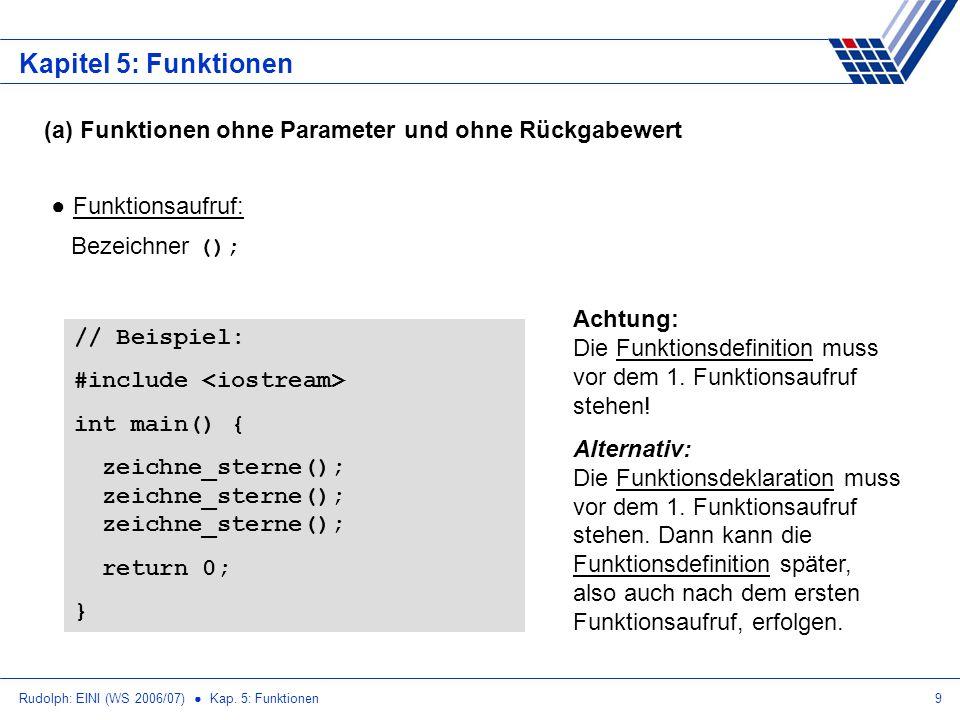 Rudolph: EINI (WS 2006/07) Kap. 5: Funktionen9 Kapitel 5: Funktionen (a) Funktionen ohne Parameter und ohne Rückgabewert Funktionsaufruf: Bezeichner (