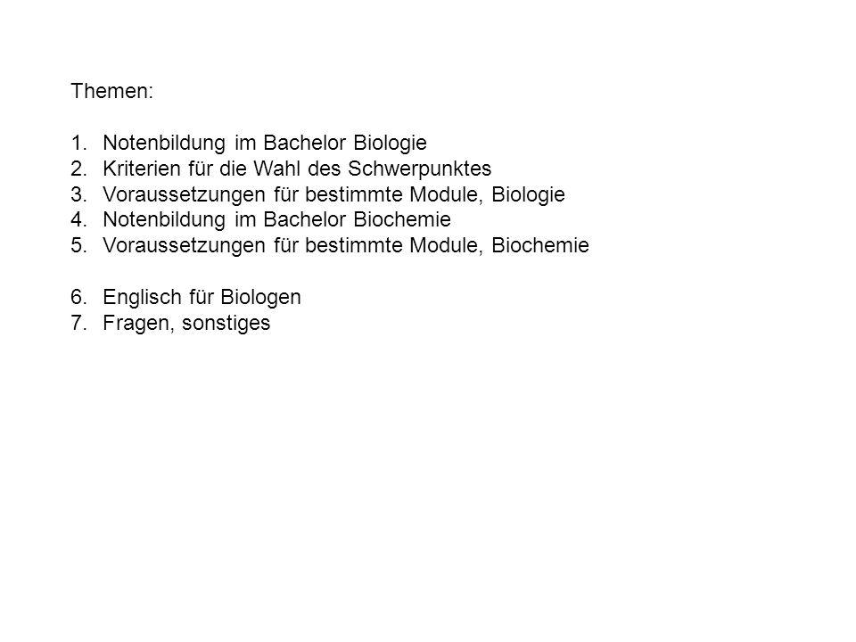 Themen: 1.Notenbildung im Bachelor Biologie 2.Kriterien für die Wahl des Schwerpunktes 3.Voraussetzungen für bestimmte Module, Biologie 4.Notenbildung