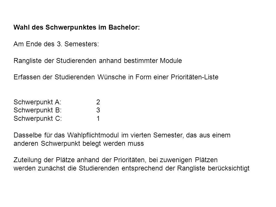 Wahl des Schwerpunktes im Bachelor: Am Ende des 3. Semesters: Rangliste der Studierenden anhand bestimmter Module Erfassen der Studierenden Wünsche in