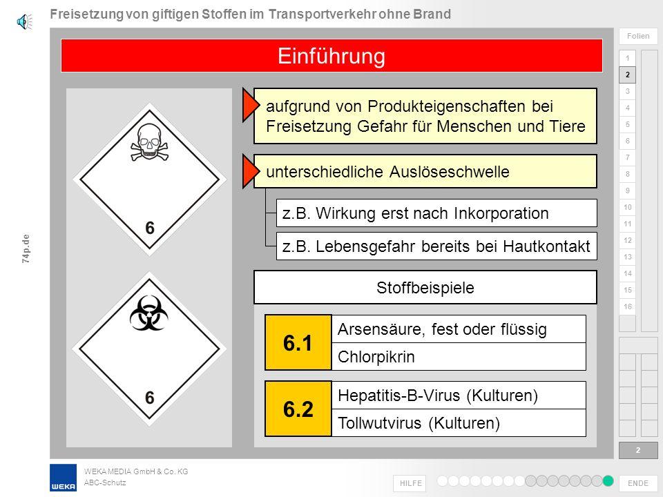 WEKA MEDIA GmbH & Co. KG ABC-Schutz ENDE HILFE 1 2 3 4 5 6 Folien 7 8 9 10 11 12 13 14 15 16 74p.de Freisetzung von giftigen Stoffen im Transportverke