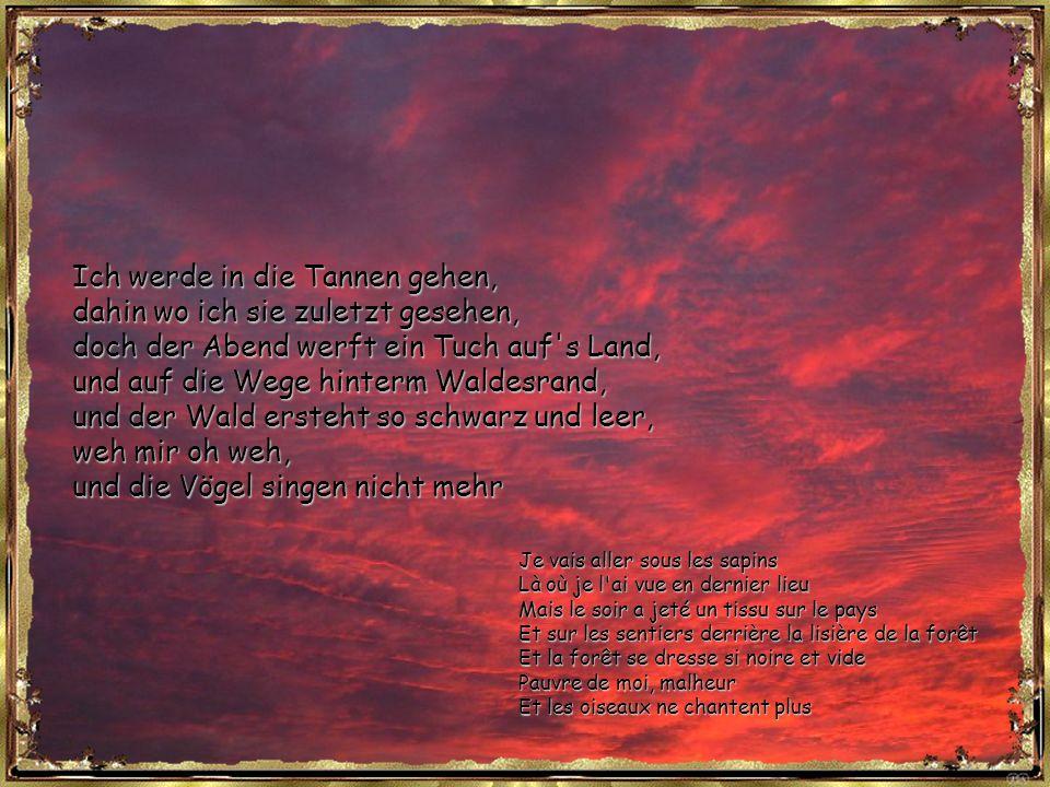 Ich werde in die Tannen gehen, dahin wo ich sie zuletzt gesehen, doch der Abend werft ein Tuch auf s Land, und auf die Wege hinterm Waldesrand, und der Wald ersteht so schwarz und leer, weh mir oh weh, und die Vögel singen nicht mehr Je vais aller sous les sapins Là où je l ai vue en dernier lieu Mais le soir a jeté un tissu sur le pays Et sur les sentiers derrière la lisière de la forêt Et la forêt se dresse si noire et vide Pauvre de moi, malheur Et les oiseaux ne chantent plus