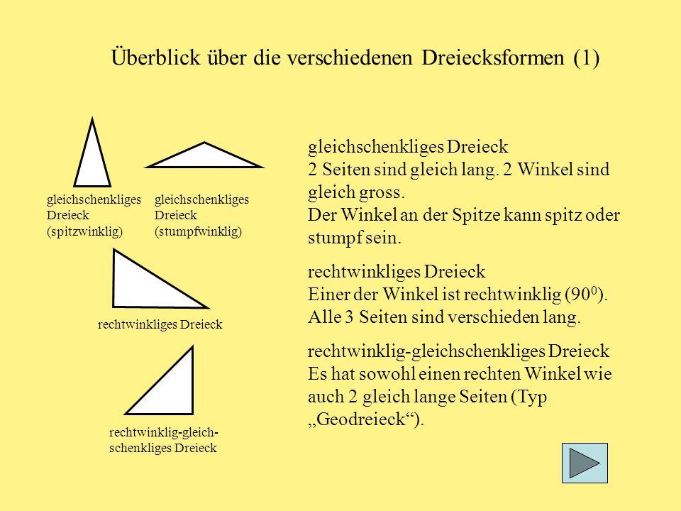 rechtwinkliges Dreieck gleichschenkliges Dreieck (spitzwinklig) rechtwinklig-gleich- schenkliges Dreieck gleichschenkliges Dreieck (stumpfwinklig) Überblick über die verschiedenen Dreiecksformen (1) gleichschenkliges Dreieck 2 Seiten sind gleich lang.