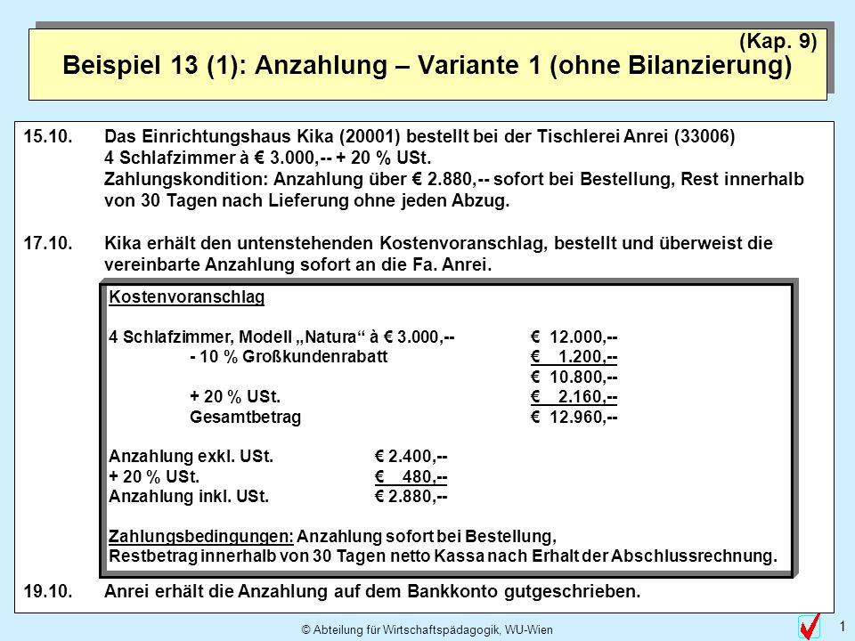 © Abteilung für Wirtschaftspädagogik, WU-Wien 1 Beispiel 13 (1): Anzahlung – Variante 1 (ohne Bilanzierung) (Kap. 9) 15.10.Das Einrichtungshaus Kika (