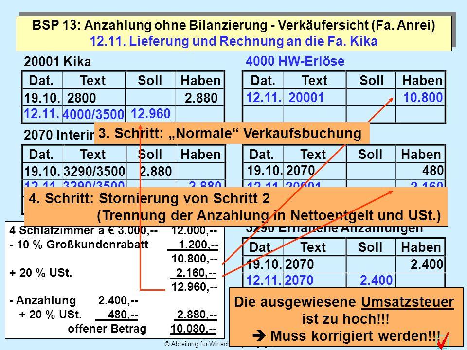 © Abteilung für Wirtschaftspädagogik, WU-Wien 10 Dat.TextSollHabenDat.TextSollHaben Dat.TextSollHabenDat.TextSollHaben Dat.TextSollHaben 12.11. Liefer