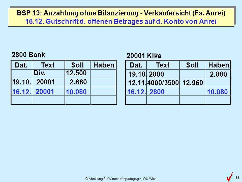 © Abteilung für Wirtschaftspädagogik, WU-Wien 11 Dat.TextSollHabenDat.TextSollHaben 16.12. Gutschrift d. offenen Betrages auf d. Konto von Anrei 2800