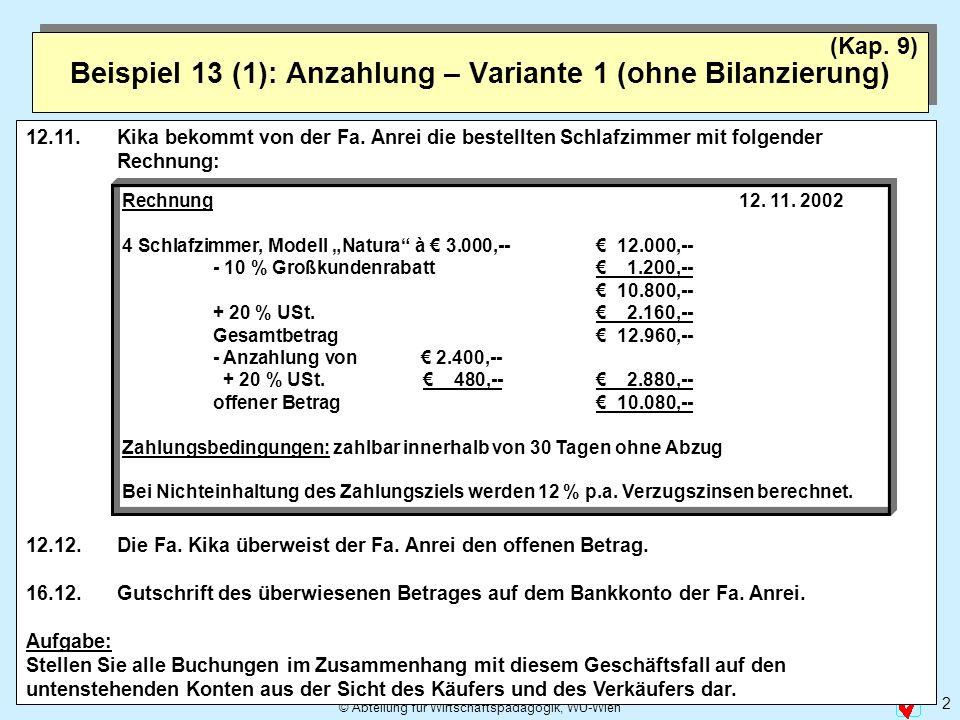 © Abteilung für Wirtschaftspädagogik, WU-Wien 2 Beispiel 13 (1): Anzahlung – Variante 1 (ohne Bilanzierung) (Kap. 9) 12.11. Kika bekommt von der Fa. A