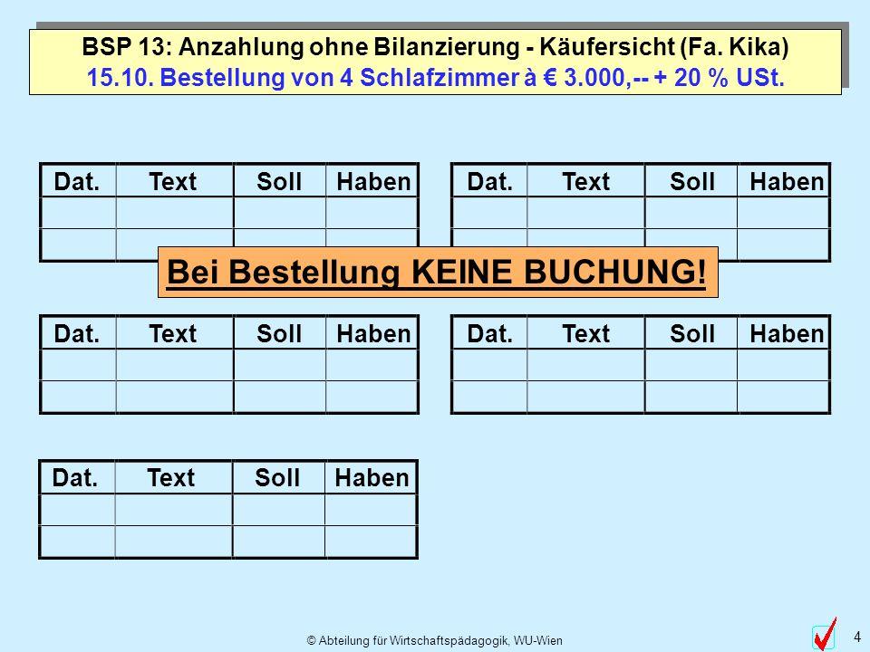© Abteilung für Wirtschaftspädagogik, WU-Wien 4 Dat.TextSollHabenDat.TextSollHaben Dat.TextSollHabenDat.TextSollHaben 15.10. Bestellung von 4 Schlafzi