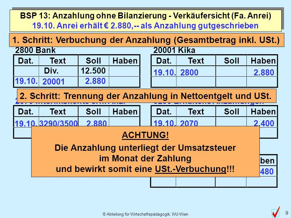 © Abteilung für Wirtschaftspädagogik, WU-Wien 9 Dat.TextSollHabenDat.TextSollHaben Dat.TextSollHabenDat.TextSollHaben Dat.TextSollHaben 19.10. Anrei e
