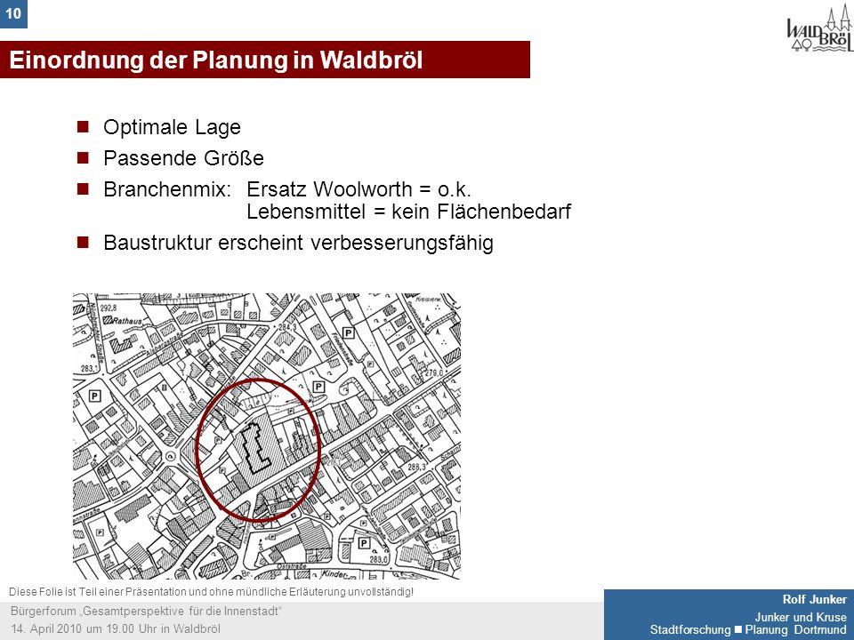 10 Rolf Junker Junker und Kruse Stadtforschung Planung Dortmund Bürgerforum Gesamtperspektive für die Innenstadt 14. April 2010 um 19.00 Uhr in Waldbr