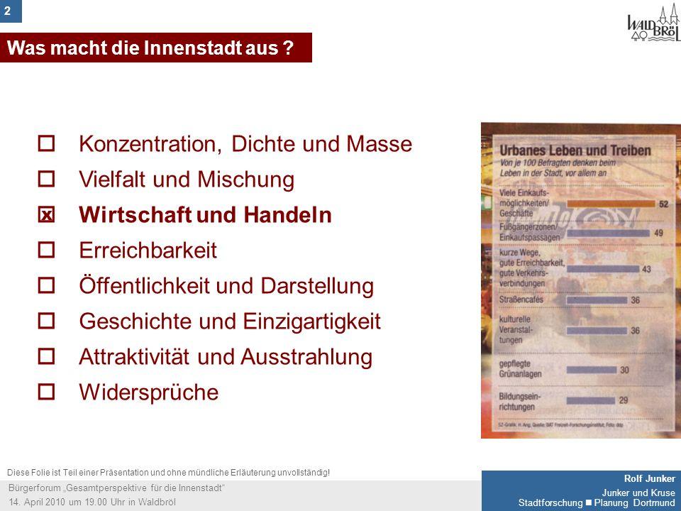 2 Rolf Junker Junker und Kruse Stadtforschung Planung Dortmund Bürgerforum Gesamtperspektive für die Innenstadt 14. April 2010 um 19.00 Uhr in Waldbrö