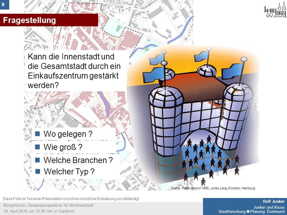 9 Rolf Junker Junker und Kruse Stadtforschung Planung Dortmund Bürgerforum Gesamtperspektive für die Innenstadt 14. April 2010 um 19.00 Uhr in Waldbrö