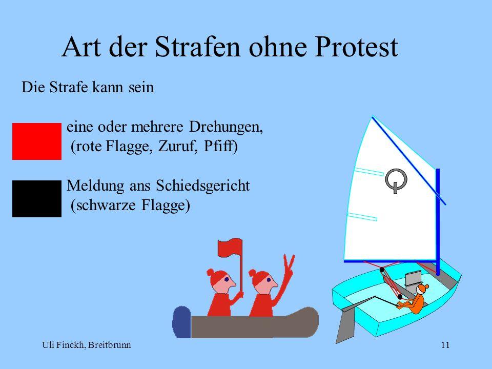 Uli Finckh, Breitbrunn11 Art der Strafen ohne Protest Die Strafe kann sein eine oder mehrere Drehungen, (rote Flagge, Zuruf, Pfiff) Meldung ans Schied