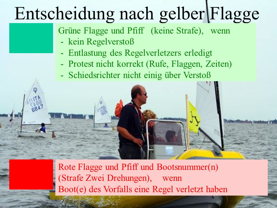 Uli Finckh, Breitbrunn9 Entscheidung nach gelber Flagge Grüne Flagge und Pfiff (keine Strafe), wenn - kein Regelverstoß - Entlastung des Regelverletze