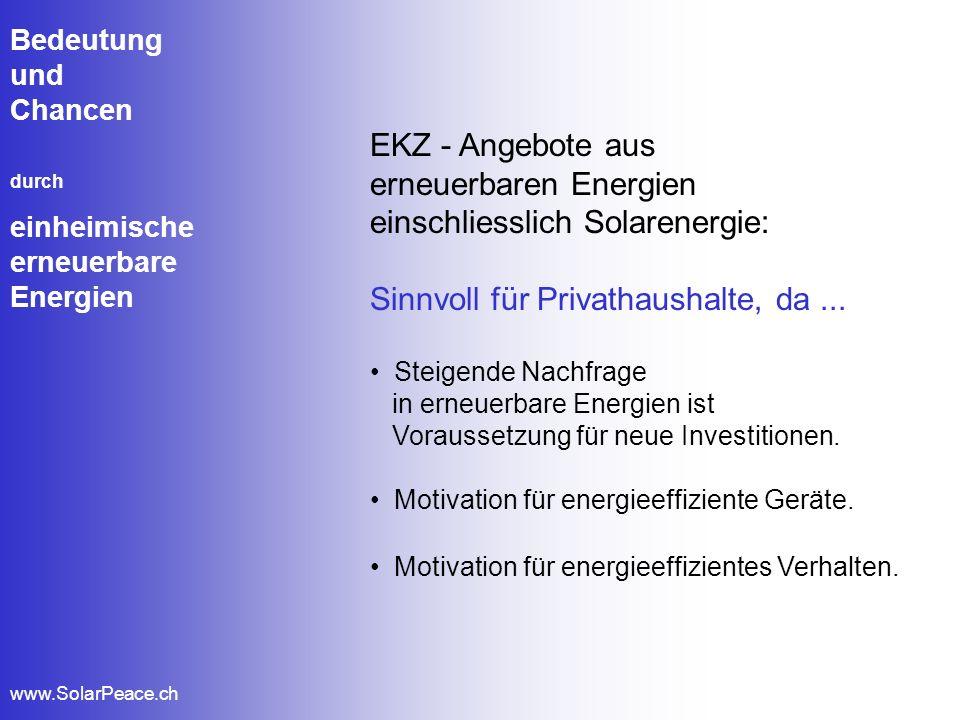 Bedeutung und Chancen durch einheimische erneuerbare Energien www.SolarPeace.ch EKZ - Angebote aus erneuerbaren Energien einschliesslich Solarenergie: