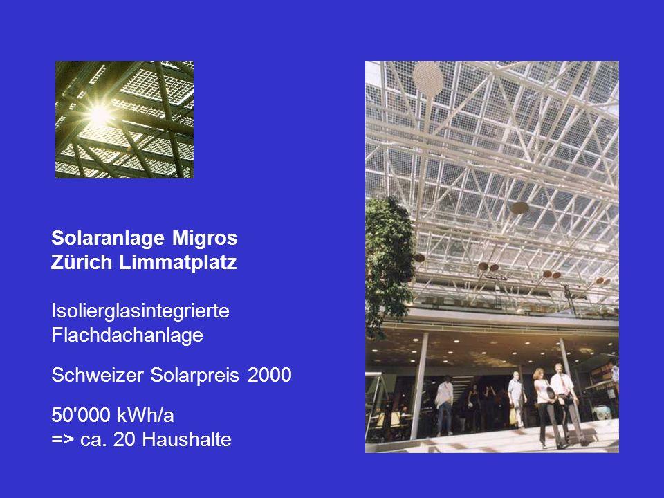 Solaranlage Migros Zürich Limmatplatz Isolierglasintegrierte Flachdachanlage Schweizer Solarpreis 2000 50'000 kWh/a => ca. 20 Haushalte