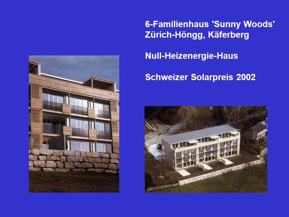 6-Familienhaus 'Sunny Woods' Zürich-Höngg, Käferberg Null-Heizenergie-Haus Schweizer Solarpreis 2002