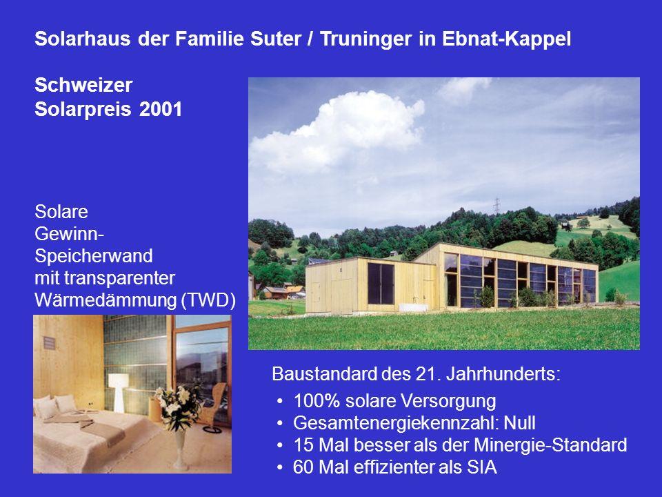 Solarhaus der Familie Suter / Truninger in Ebnat-Kappel Schweizer Solarpreis 2001 Solare Gewinn- Speicherwand mit transparenter Wärmedämmung (TWD) Bau