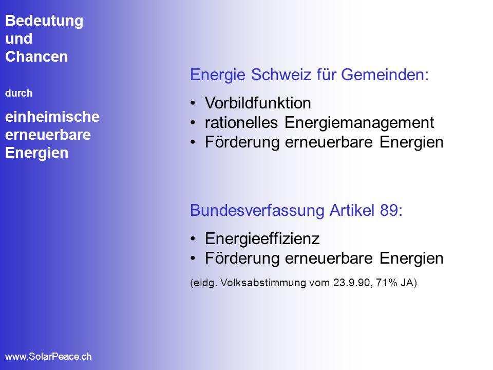 Bedeutung und Chancen durch einheimische erneuerbare Energien www.SolarPeace.ch Energie Schweiz für Gemeinden: Vorbildfunktion rationelles Energiemana