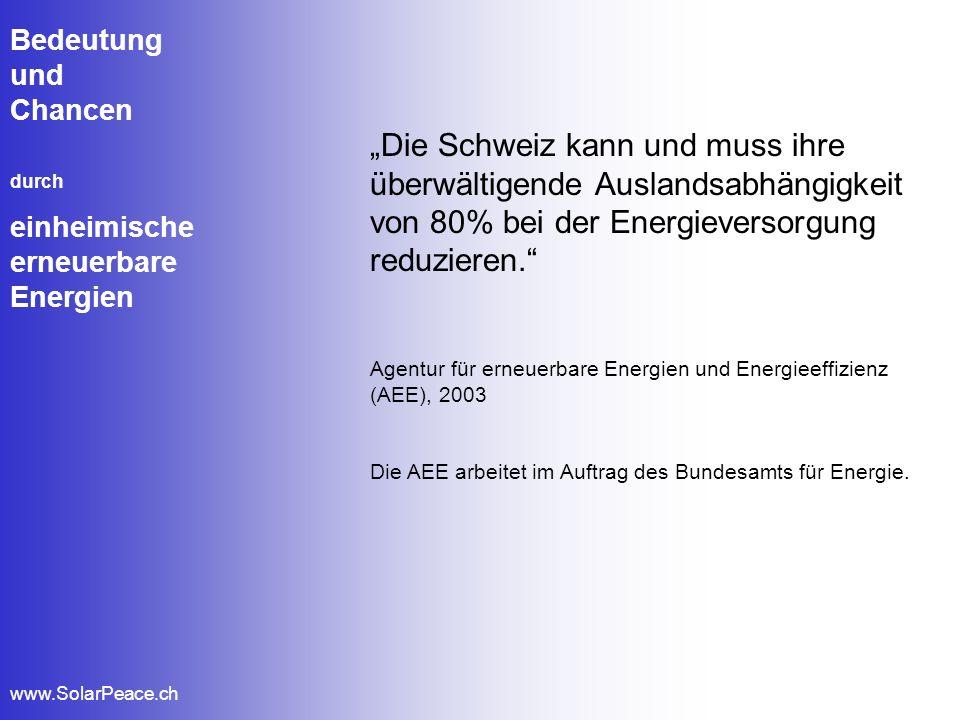 Bedeutung und Chancen durch einheimische erneuerbare Energien www.SolarPeace.ch Die Schweiz kann und muss ihre überwältigende Auslandsabhängigkeit von
