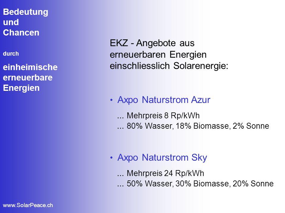 Bedeutung und Chancen durch einheimische erneuerbare Energien www.SolarPeace.ch EKZ - Angebote aus erneuerbaren Energien einschliesslich Solarenergie: Sinnvoll für Privathaushalte, da...