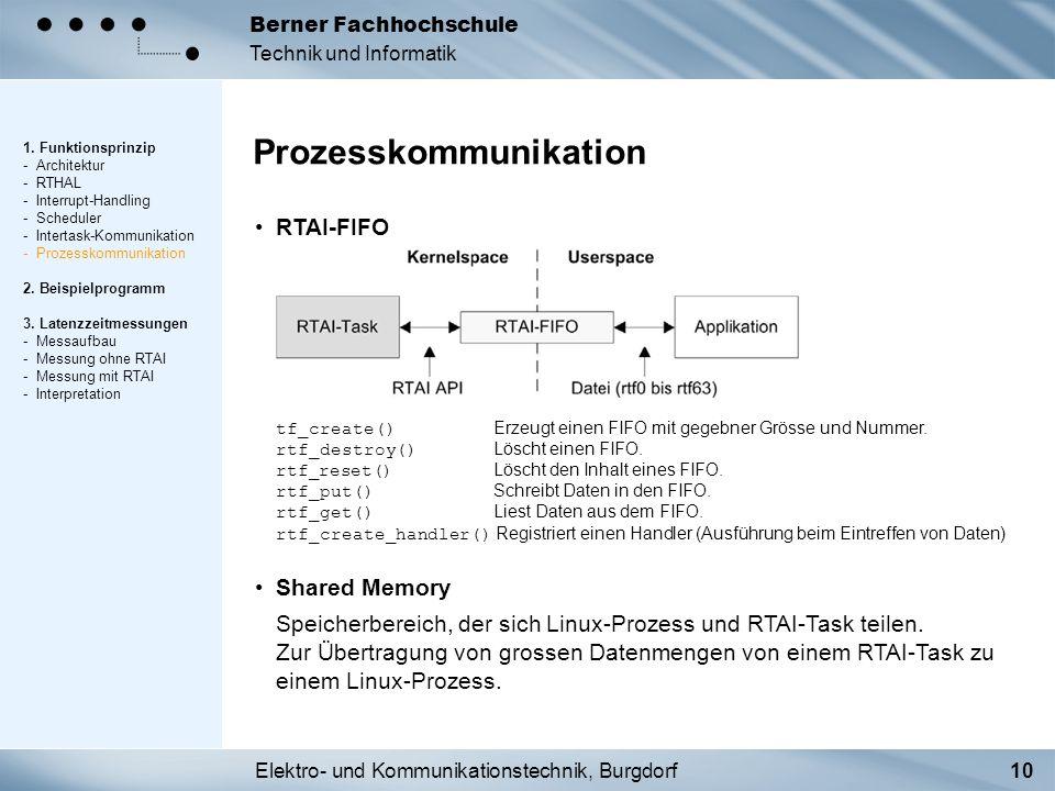 Elektro- und Kommunikationstechnik, Burgdorf10 Berner Fachhochschule Technik und Informatik RTAI-FIFO tf_create() Erzeugt einen FIFO mit gegebner Grös