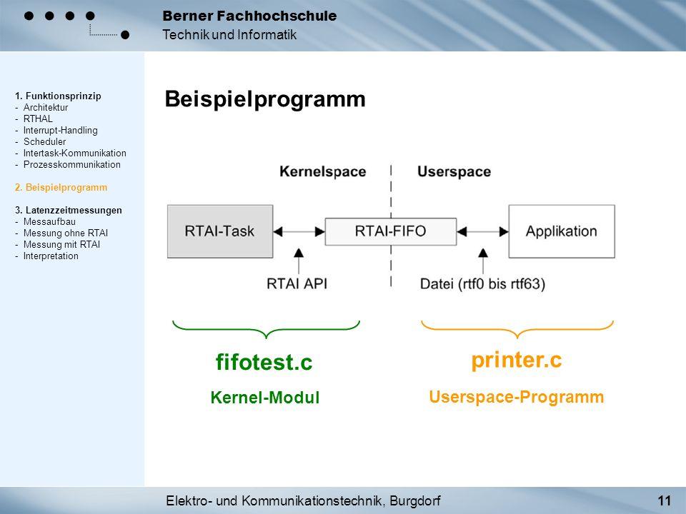 Elektro- und Kommunikationstechnik, Burgdorf11 Berner Fachhochschule Technik und Informatik Beispielprogramm 1. Funktionsprinzip - Architektur - RTHAL