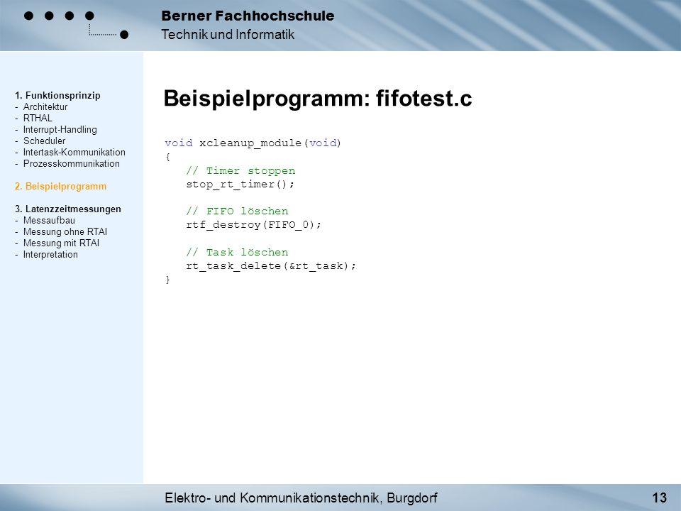 Elektro- und Kommunikationstechnik, Burgdorf13 Berner Fachhochschule Technik und Informatik Beispielprogramm: fifotest.c 1. Funktionsprinzip - Archite