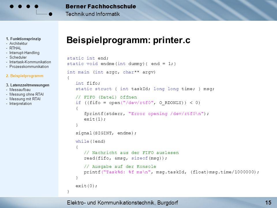 Elektro- und Kommunikationstechnik, Burgdorf15 Berner Fachhochschule Technik und Informatik Beispielprogramm: printer.c 1. Funktionsprinzip - Architek