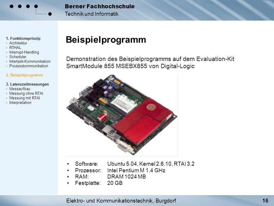 Elektro- und Kommunikationstechnik, Burgdorf16 Berner Fachhochschule Technik und Informatik Beispielprogramm 1. Funktionsprinzip - Architektur - RTHAL