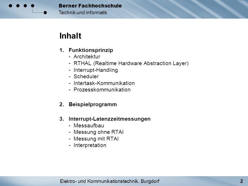 Elektro- und Kommunikationstechnik, Burgdorf2 Berner Fachhochschule Technik und Informatik Inhalt 1.Funktionsprinzip - Architektur - RTHAL (Realtime H