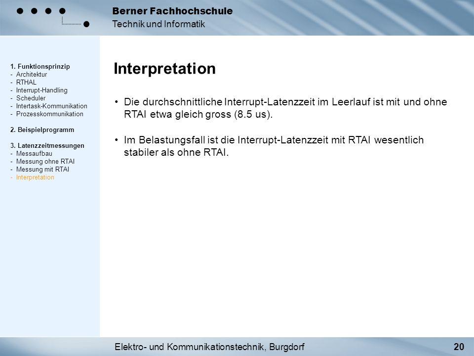 Elektro- und Kommunikationstechnik, Burgdorf20 Berner Fachhochschule Technik und Informatik Interpretation 1. Funktionsprinzip - Architektur - RTHAL -