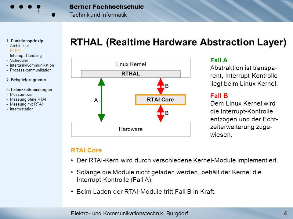 Elektro- und Kommunikationstechnik, Burgdorf4 Berner Fachhochschule Technik und Informatik RTHAL (Realtime Hardware Abstraction Layer) Fall A Abstrakt