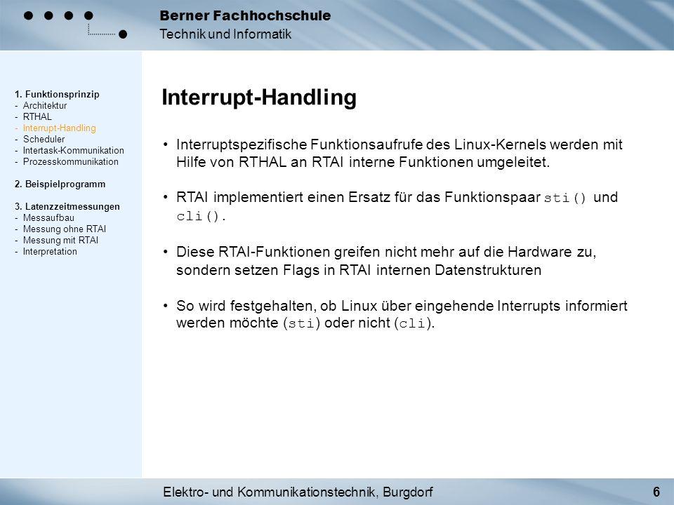 Elektro- und Kommunikationstechnik, Burgdorf6 Berner Fachhochschule Technik und Informatik Interrupt-Handling 1. Funktionsprinzip - Architektur - RTHA