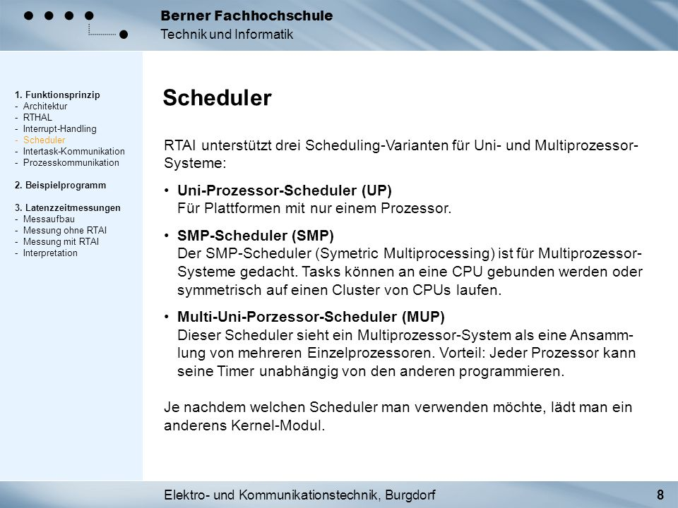 Elektro- und Kommunikationstechnik, Burgdorf19 Berner Fachhochschule Technik und Informatik Messung mit RTAI 1.