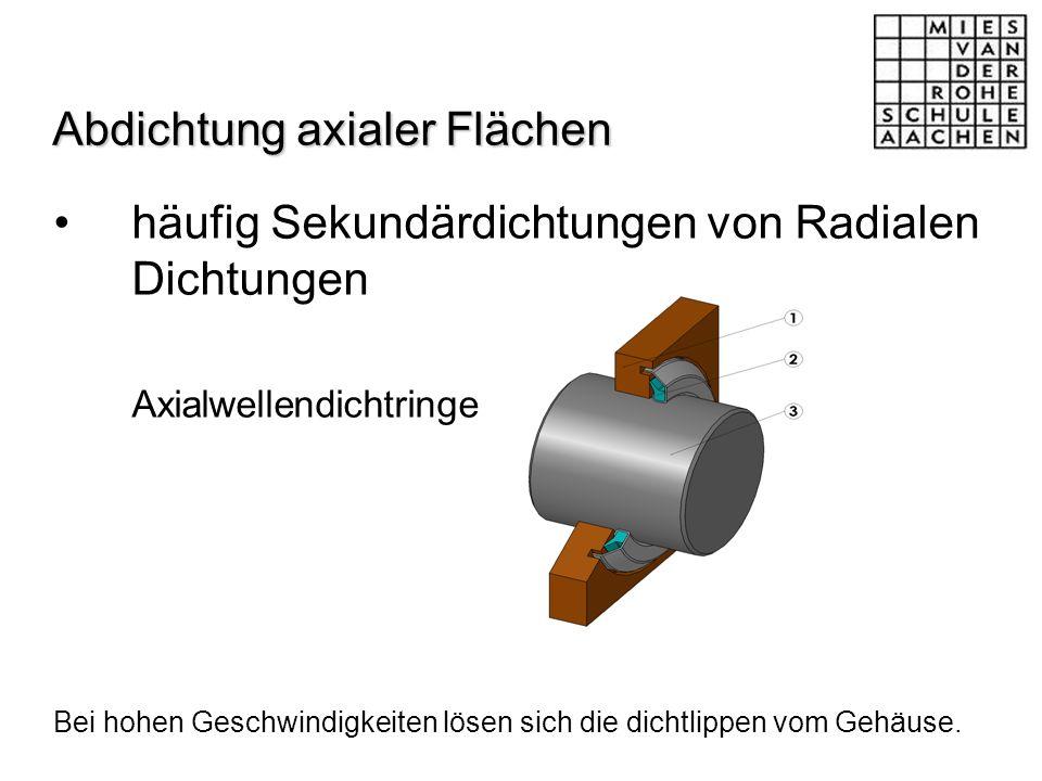 Abdichtung axialer Flächen häufig Sekundärdichtungen von Radialen Dichtungen Axialwellendichtringe Bei hohen Geschwindigkeiten lösen sich die dichtlip