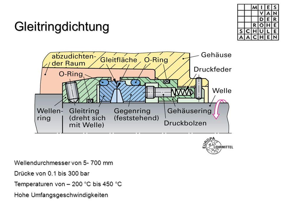 Gleitringdichtung Wellendurchmesser von 5- 700 mm Drücke von 0.1 bis 300 bar Temperaturen von – 200 °C bis 450 °C Hohe Umfangsgeschwindigkeiten