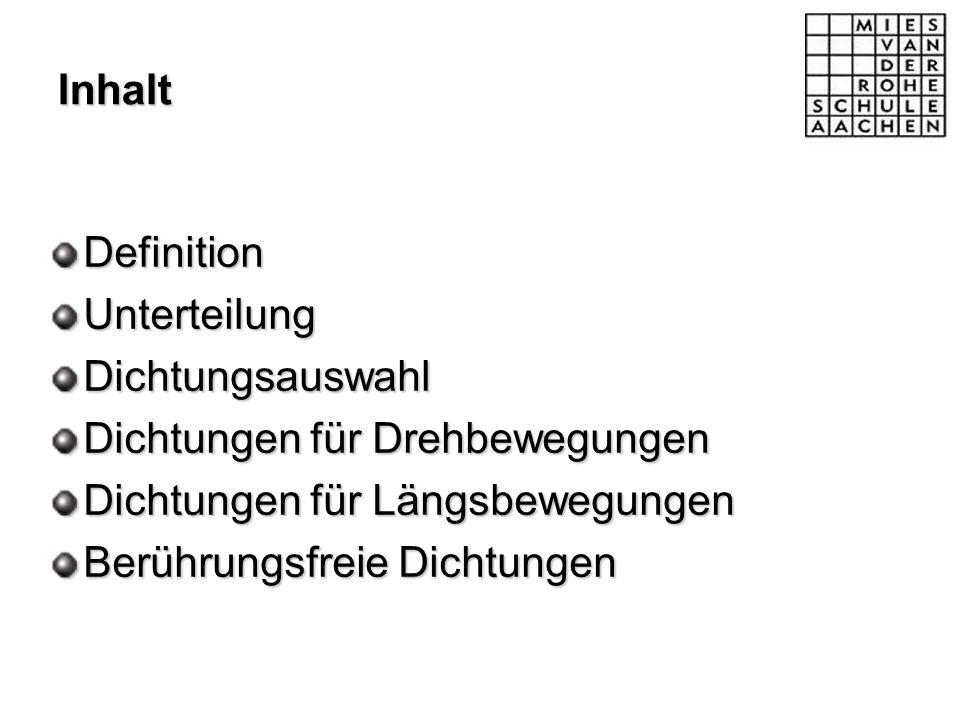 Inhalt DefinitionUnterteilungDichtungsauswahl Dichtungen für Drehbewegungen Dichtungen für Längsbewegungen Berührungsfreie Dichtungen