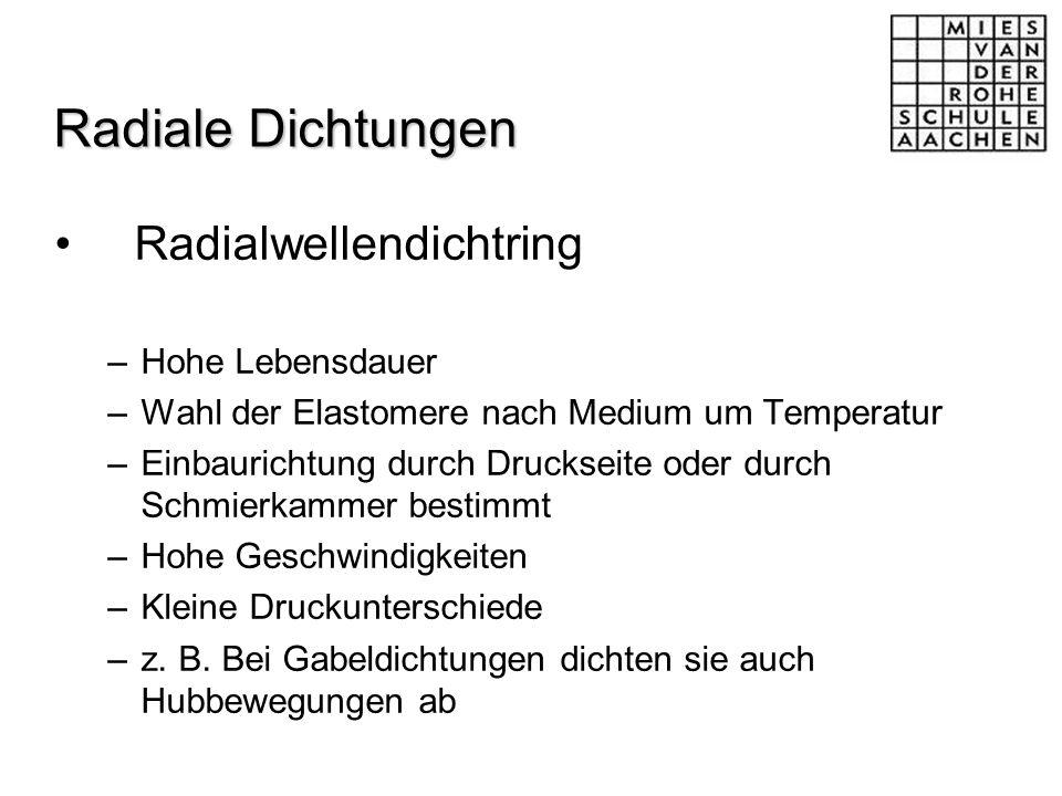 Radiale Dichtungen Radialwellendichtring –Hohe Lebensdauer –Wahl der Elastomere nach Medium um Temperatur –Einbaurichtung durch Druckseite oder durch