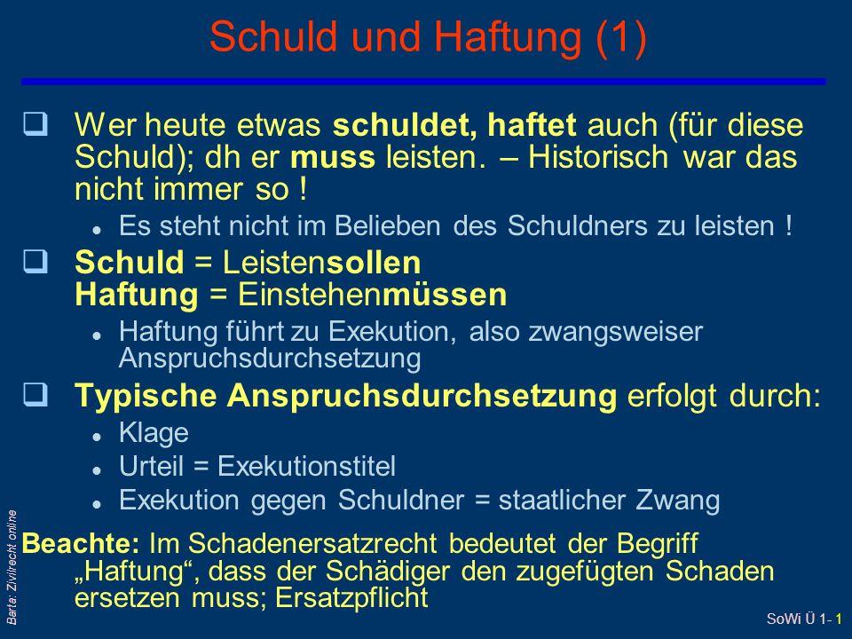 SoWi Ü 1- 1 Barta: Zivilrecht online Schuld und Haftung (1) qWer heute etwas schuldet, haftet auch (für diese Schuld); dh er muss leisten. – Historisc