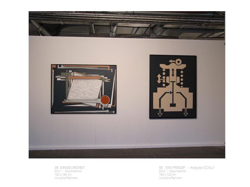 08 EINGEORDNET 2011 | Mischtechnik 120 x 160 cm inclusive Rahmen 09 EIN PRINZIP - Analyse CCXLV 2012 | Mischtechnik 160 x 120 cm inclusive Rahmen