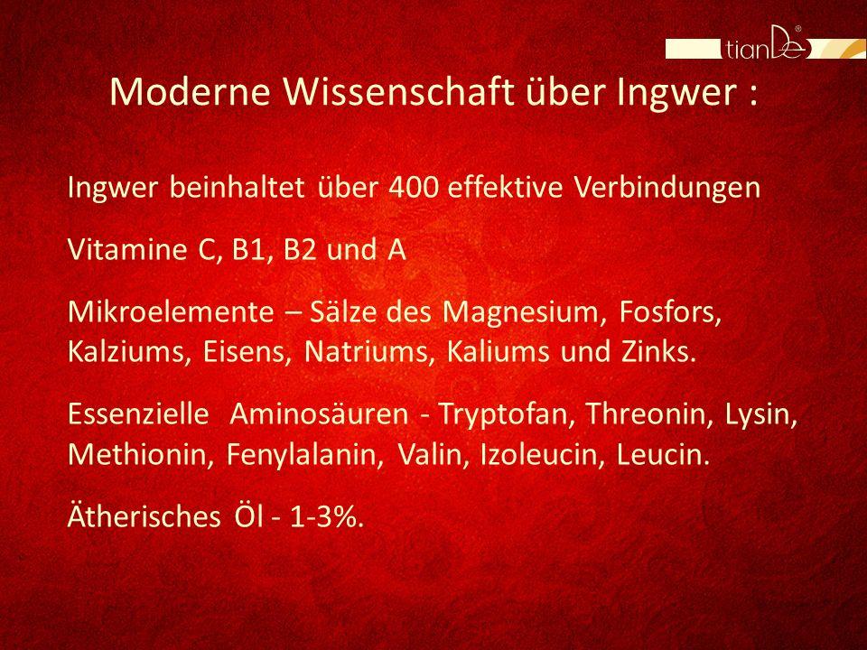 Moderne Wissenschaft über Ingwer : Ingwer beinhaltet über 400 effektive Verbindungen Vitamine C, B1, B2 und A Mikroelemente – Sälze des Magnesium, Fos