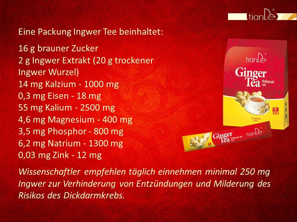 Eine Packung Ingwer Tee beinhaltet: 16 g brauner Zucker 2 g Ingwer Extrakt (20 g trockener Ingwer Wurzel) 14 mg Kalzium - 1000 mg 0,3 mg Eisen - 18 mg