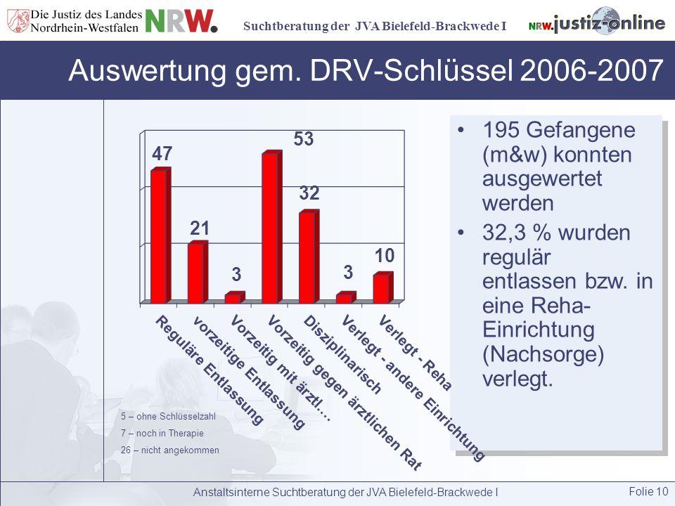 Suchtberatung der JVA Bielefeld-Brackwede I Auswertung gem. DRV-Schlüssel 2006-2007 Anstaltsinterne Suchtberatung der JVA Bielefeld-Brackwede I Folie