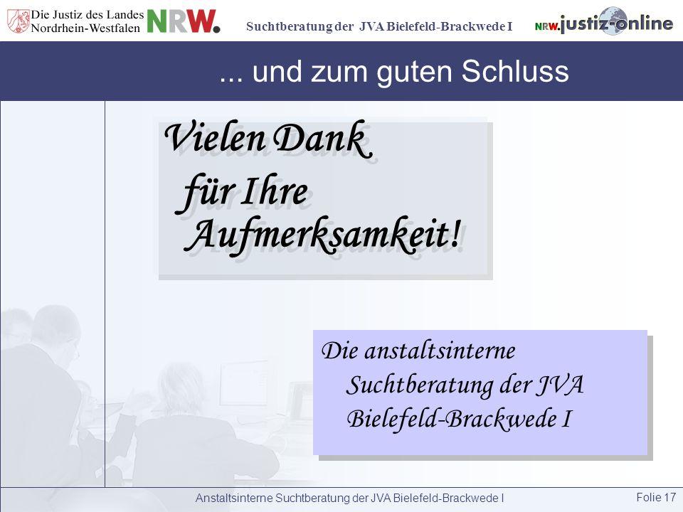 Suchtberatung der JVA Bielefeld-Brackwede I Anstaltsinterne Suchtberatung der JVA Bielefeld-Brackwede I Folie 17... und zum guten Schluss Vielen Dank
