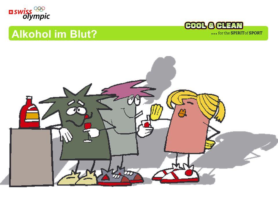 Alkoholkonsum ohne Mahlzeit 3 Stangen Bier oder 4 dl Wein oder 4 dl Alcopops oder Frau (50 kg) 1 bis 2 Promille oder Mann (70 kg) 5 Stangen Bier oder 6 dl Wein oder 6 dl Alcopops