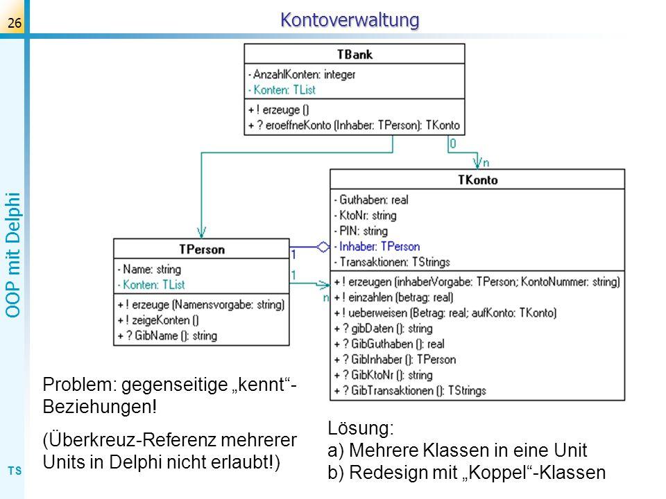 TS OOP mit Delphi 26Kontoverwaltung Problem: gegenseitige kennt- Beziehungen! (Überkreuz-Referenz mehrerer Units in Delphi nicht erlaubt!) Lösung: a)